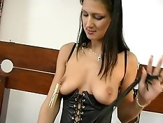 Gorgeous brunette slave in sexy